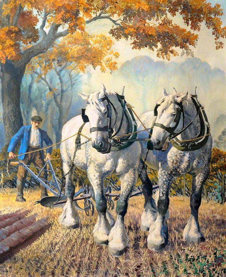 Charles Frederick Tunnicliffe (1901-1979) - A Team of Horses, 1948