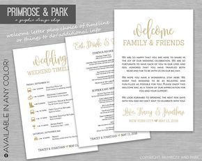 Wedding Welcome Letter and Itinerary or Info Things to Do Printable // Wedding Welcome Bag // Wedding Weekend Bag