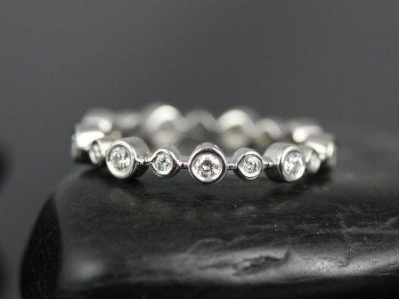 Paige 14kt Gold Alternating Floating Bubbles Diamond Eternity Ring | rosadosbox - Jewelry on ArtFire