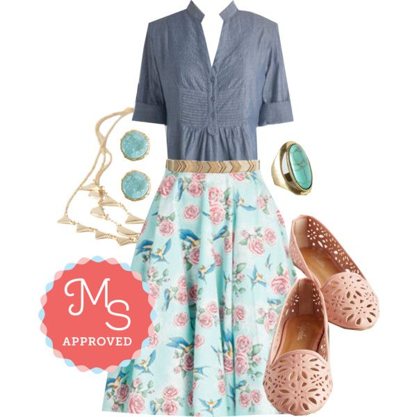 Freewheeling Whimsy Skirt by modcloth on Polyvore featuring мода