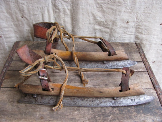Antique Dutch ice skates/wood, leather and steel. Early 1900s-1920s (MouseTrapVintage/Etsy)