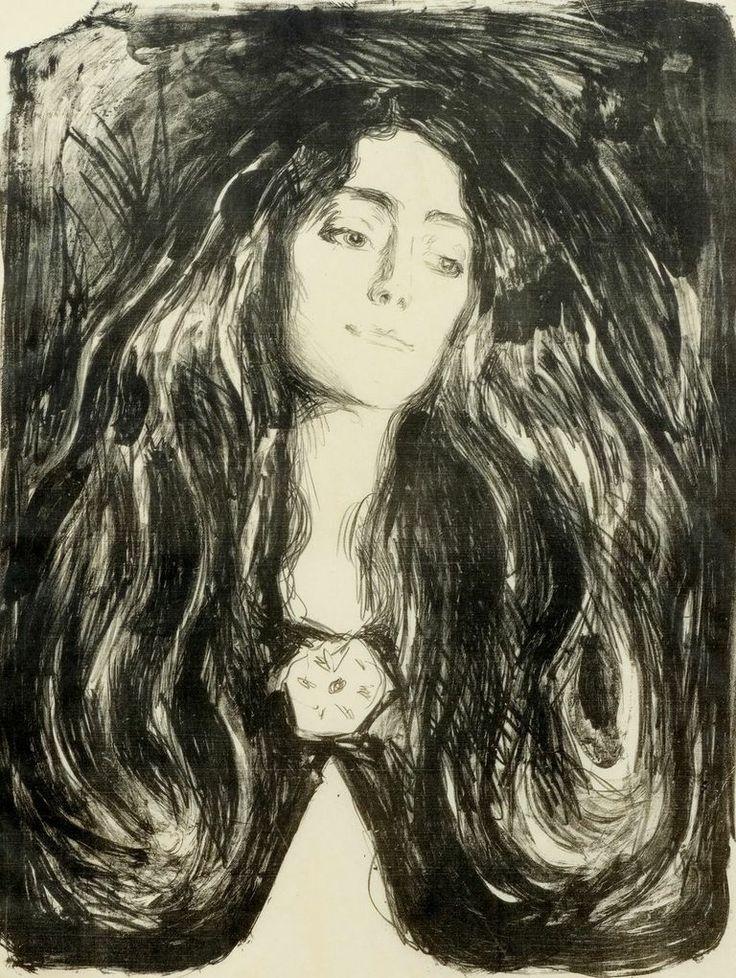 amare-habeo: Edvard Munch (Norwegian, 1863-1944) The Brooch. Eva Mudocci, 1903