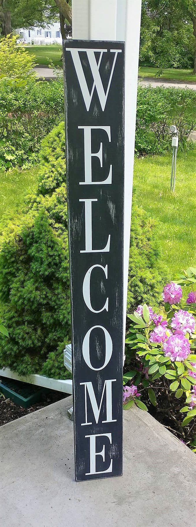 Large Vertical front porch Farmhouse decor Welcome sign