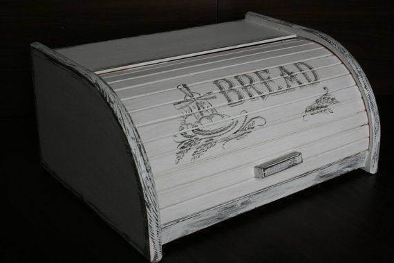 RARE! Primitive BREAD BOX, Bread Bin, Bread box, Distressed, White, Rustic, Country, Shabby, Retro, French style, Wooden breadbox, breadbin  PERFECT Primitive White BREAD BOX BIN.  This wooden breadbox / breadbin is distressed and made in Rustic, Country, Shabby, Retro, French style. Great white color to your kitchen.   Hand painted wooden bread bin decorated with decoupage methods. Real beech wood (no cheap and soft pine or spruces but real beech wood)  Perfect decorative vintage item for…