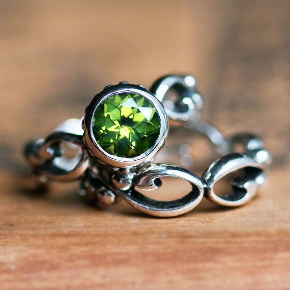 Hey, I found this really awesome Etsy listing at https://www.etsy.com/listing/198291854/peridot-engagement-ring-set-bezel
