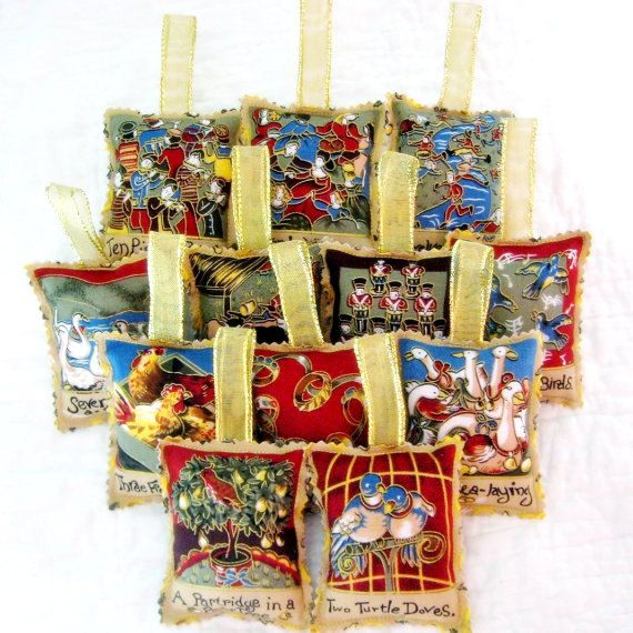 12 Days Of Christmas Craft Ideas Part - 36: 12 Days Of Christmas Ornament Set - Fabric With Gold Ribbon Hangers