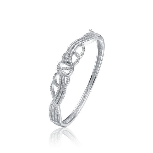 Sterling Silver Cubic Zirconia Knot Design Bangle Bracelet