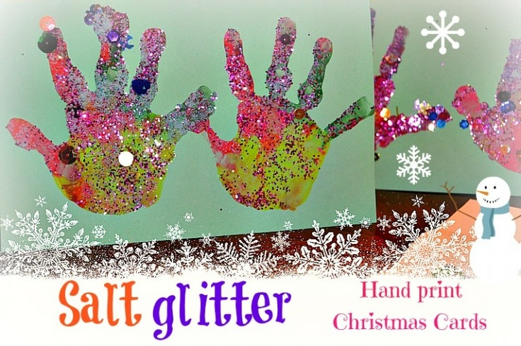 Salt Glitter Handprint Christmas Cards toddler christmascraft