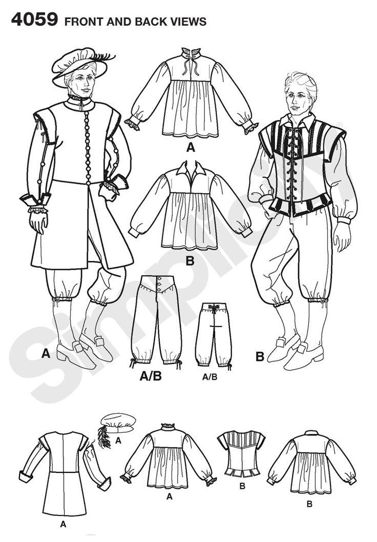 Mens Renaissance Costume Sewing Pattern 4059 Simplicity