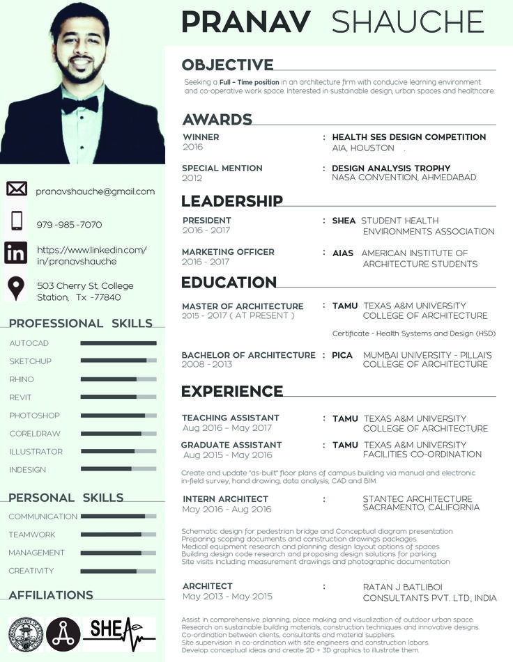 Architect Resume  BesikEightyCo