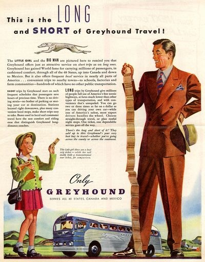 Greyhound bus ads from the 1940s