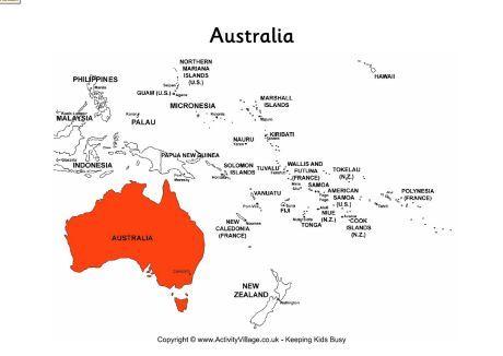 Australia on map of Oceania