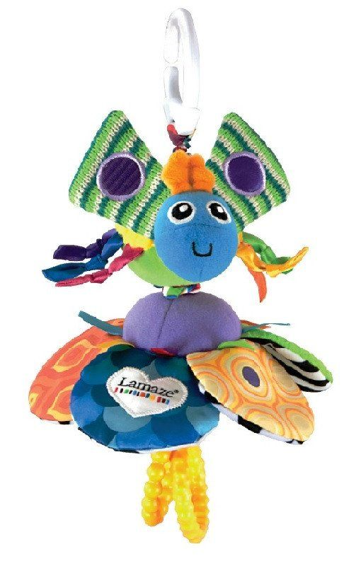 Lamaze Flutterbug - www.totswarehouse.com Lamaze Flutterbug stretches, wiggles and dances back into shape.          Simply pull the hoops at both ends to stretch it out then watch it wiggle back again.         Fun to look at, and watch, Flutterbug's many legs and wings are jam-packed with patterns and colour.         Includes crinkled material and clanking rings for hours of play and discovery.  Suitable from birth  #baby #lamaze #toy