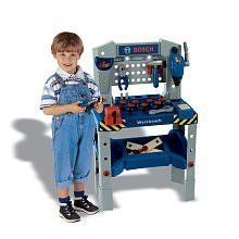 Theo Klein Bosch Adjustable Height Toy Workbench With Sound by Theo Klein. $64.95. From the Manufacturer                The Bosch workbench height is adjustable and can get to 3' tall as your child grows. Comes with an attached drill, vise, saw, pliers, hammer, wrench and much more. Your little carpenters will also like the construction sounds from the workbench.                                    Product Description                The Bosch workbench height is ...