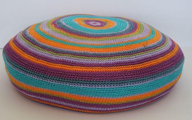 'My world' crochet cushion puple/turquoise - 50 x 50cm round