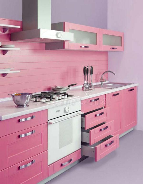 Wonderful Pink Kitchen Ideas Pink Kitchen Apartment Decorating Rental Small Bathroom Decor