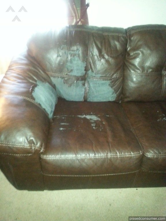 """#AshleyFurniture reviews on #pissedconsumer """"Purchased a durablend leather couch and loveseat from Ashley 2 years ago it started cracking and peeling everywhere.Called the MFS protection plan said not covered normal wear and tear..."""" http://www.pissedconsumer.com/reviews-by-company/ashley-furniture/bought-durablend-leather-couch-and-loveseat-peeling-and-cracking-20131115457885.html"""
