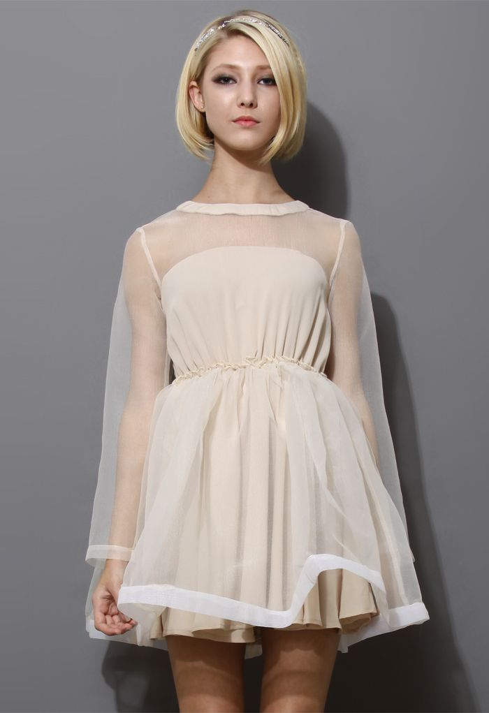 Dreamy Sheer Crepe Panel Dress in Nude - Dress - Retro, Indie and Unique Fashion