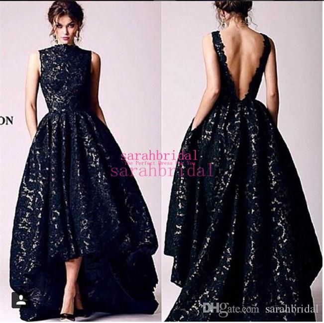 Hi Lo Black Lace Evening Dresses with Vintage Pockets For 2015 Occasion Sale Cheap High Neck Backless Casual Formal Party Gowns Arabic India Online with $120.97/Piece on Sarahbridal's Store   DHgate.com