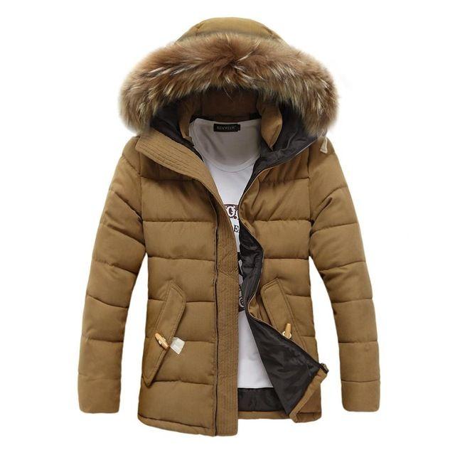 2016 New Fashion Mens Winter Parka With Faux Fur Hood Padded Jacket Men Warm Casual Jackets Coats Jaqueta Masculina