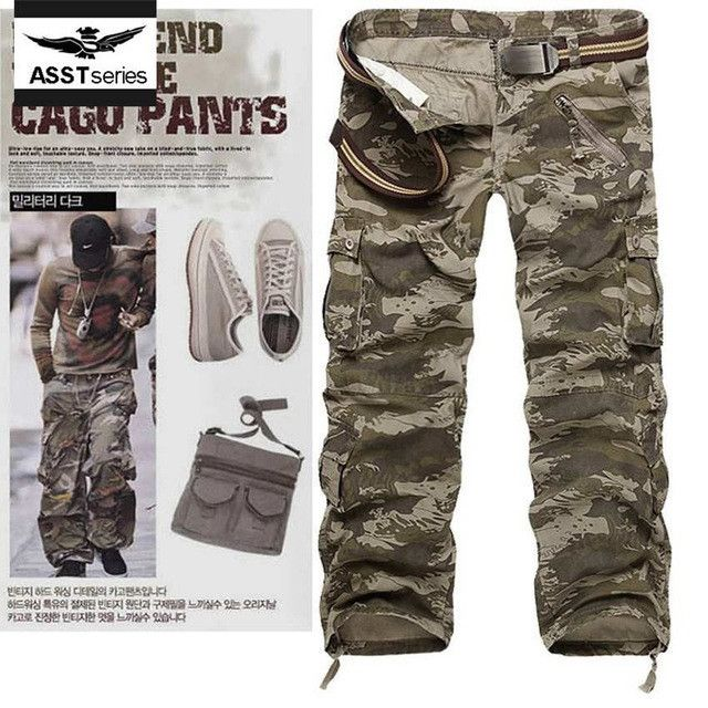 New arrival army cargo pants men camo baggy Multi Pockets combat brand camouflage trousers Military style tactical pant 204