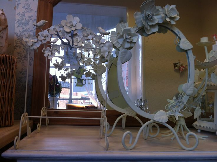 Sculpted Iron vintage White Dresser Mirror