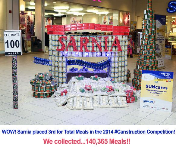 We couldn't be happier with our results from #Canstruction2014. We collected...140,365 Meals!! Thanks to everyone for all their efforts! #Sarnia #SLont