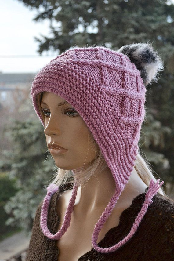 Pink Knitted Slouchy Beanie Hat Knitted cap in fur by DosiakStyle #pink #hat #handmade #knit #etsy