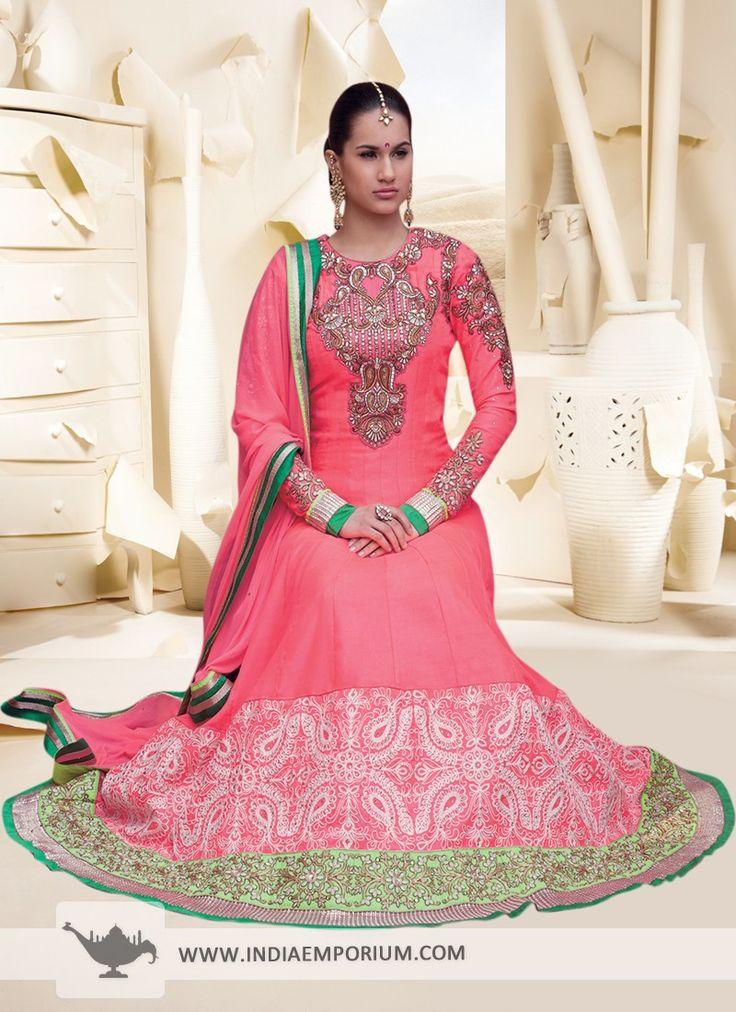Pink Gorgeous Salwar Kameez with Patch Patti Work  #AnarkaliSuit  #Suit