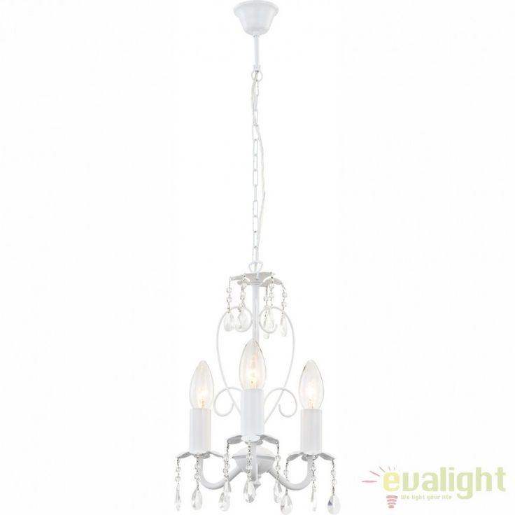Candelabru 3 brate,diametru 25cm, Pinja alb 63126-3 GL - Corpuri de iluminat, lustre, aplice
