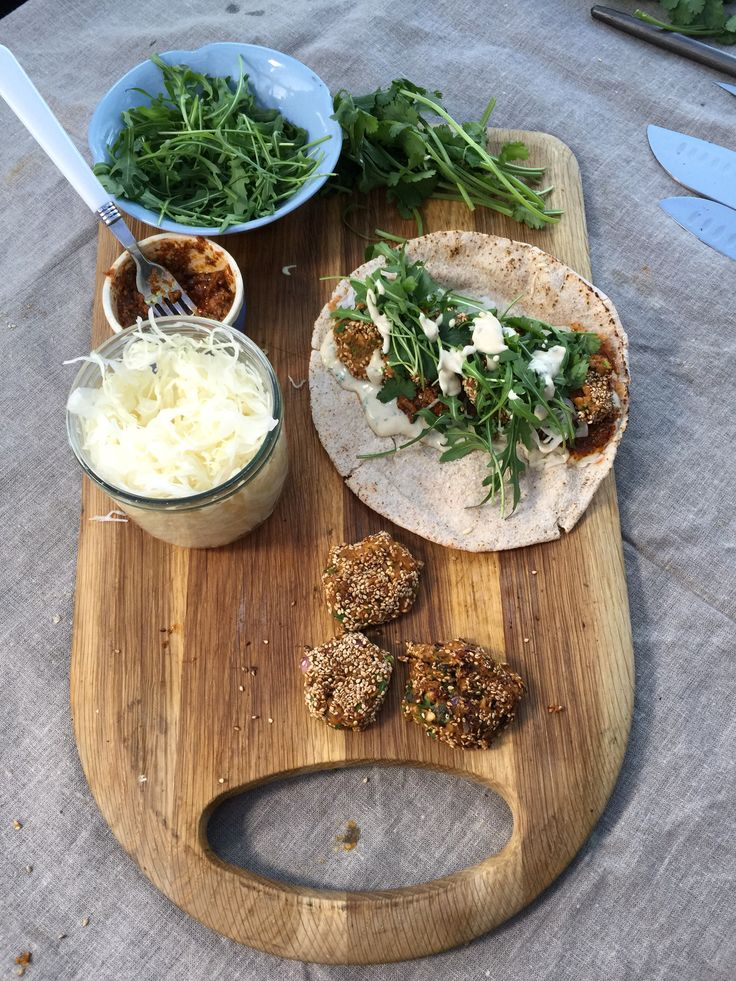 Sweet potato falafel nuggets with a sweet minty tahini, Harissa and rocket - we shot a video for this today in Camden market - what fun!