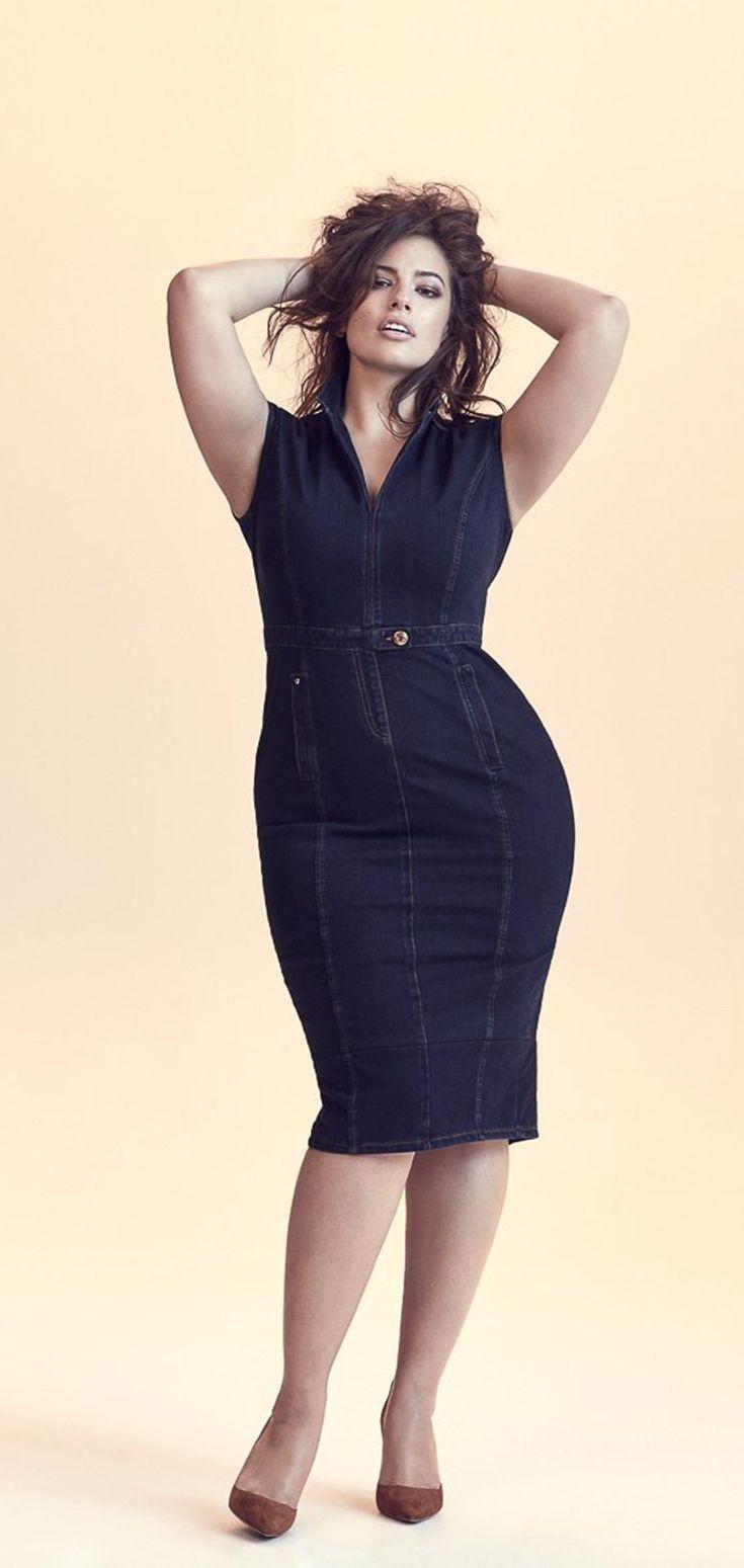 489f725143 Dark Denim Dress worn by Plus Size Model Ashley Graham for Marina Rinaldi