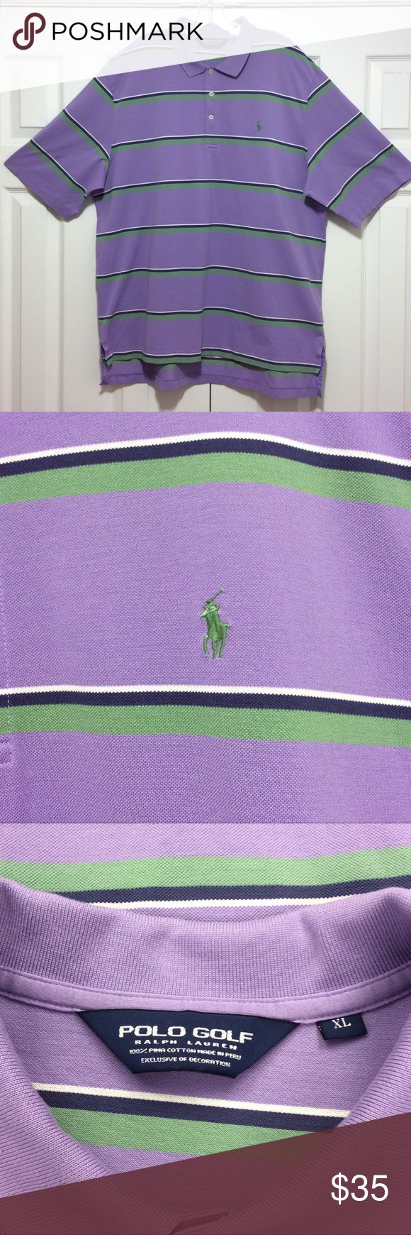 Polo by Ralph Lauren NWOT Golf shirt size XL Polo by Ralph Lauren Golf shirt size XL made of 100% Pima cotton. Shirt is purple in color with green, blue and white combined striped NWOT questions??? Please ask Polo by Ralph Lauren Shirts Polos