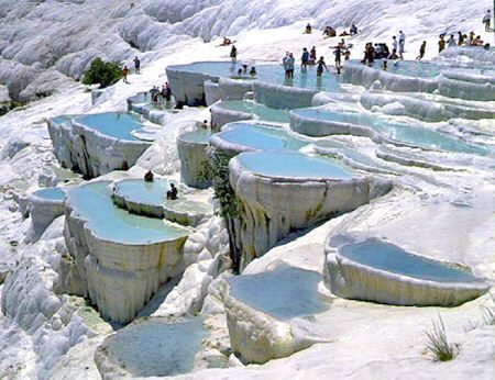 Pamukkale, Turkey. Natural Limestone terraces flowing with hot springs. Absolutely amazing!