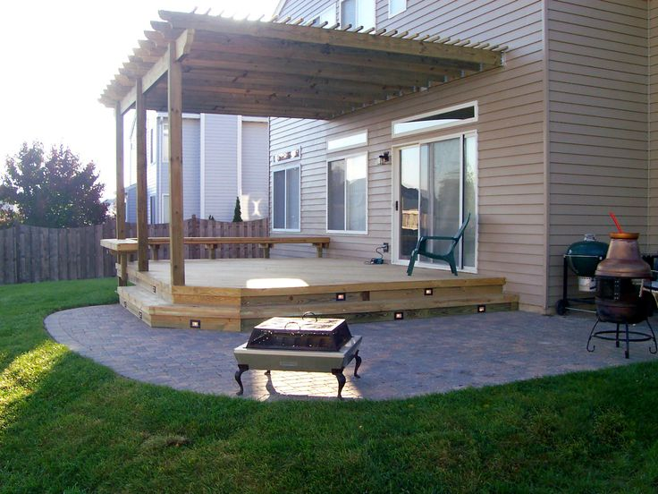 Best Wood Decks Chicagoland Images On Pinterest Wood Deck - Deck and paver patio designs
