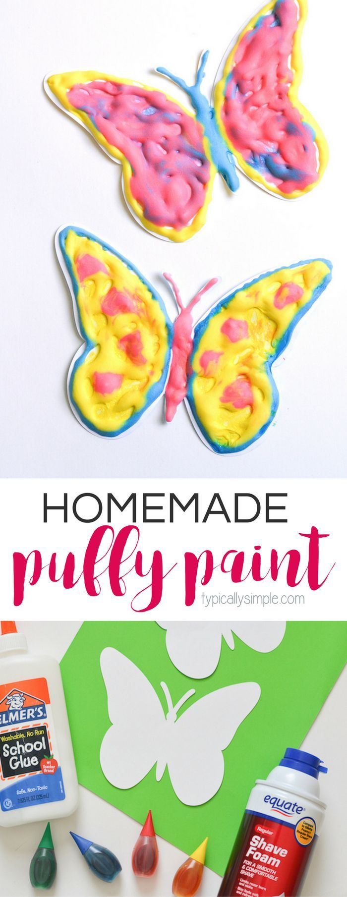 This homemade puffy paint recipe is super easy to make, plus you most likely have all of the supplies already at home! The kids will love this fun sensory activity using shaving cream and glue!