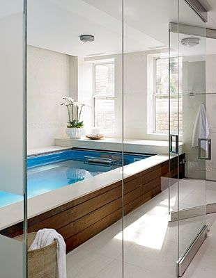 """An """"endless"""" lap pool (water jets provide a current to swim against) in the newly deepened basement wasn't one of the couple's original requirements, but """"we already had enough guest rooms and thought this would be a good addition,"""" says the wife."""