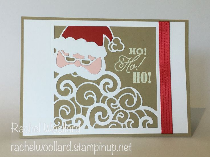 Crumb Cake Detailed Santa thinlits card | Rachel Wollard