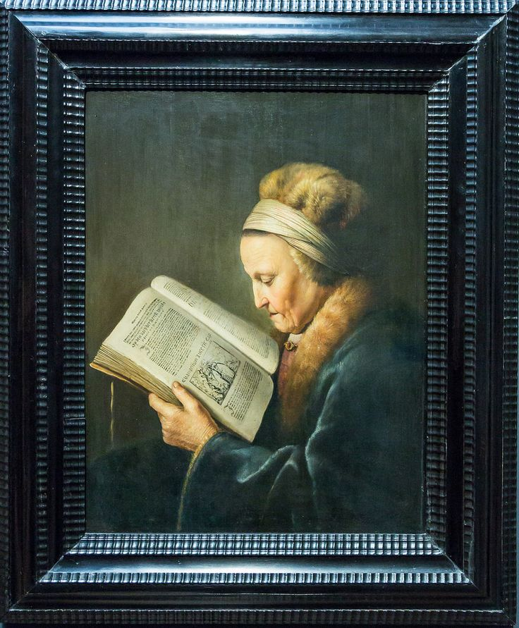 An old woman reading (the text is religious and so clearly done that it can be read. Chapter 19, Gospel of Luke). Gerard Dou 1631-2.