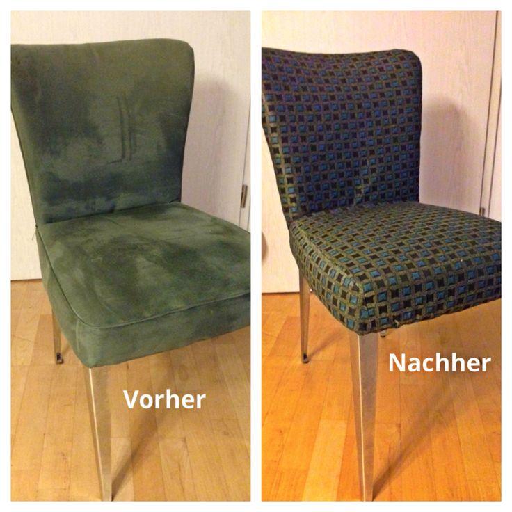 Alter Stuhl in neuem Gewand. Habe einen Überzug genäht und unten fest getackert.