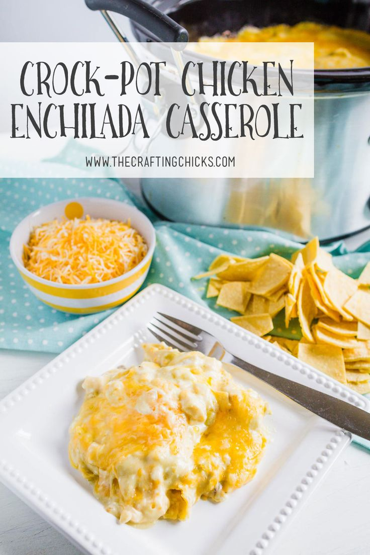 Crockpot Chicken Enchilada Casserole is easy but full of flavor. With green chilies and lots of cheese, this recipe is a crowd pleaser that can feed a crowd.