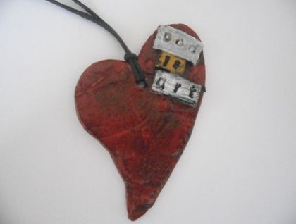 Stunning love heart GOD IS ART handmade pendant