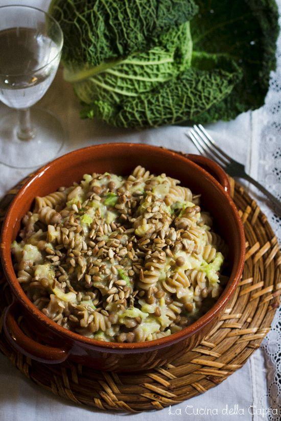 pasta con verza e lenticchie