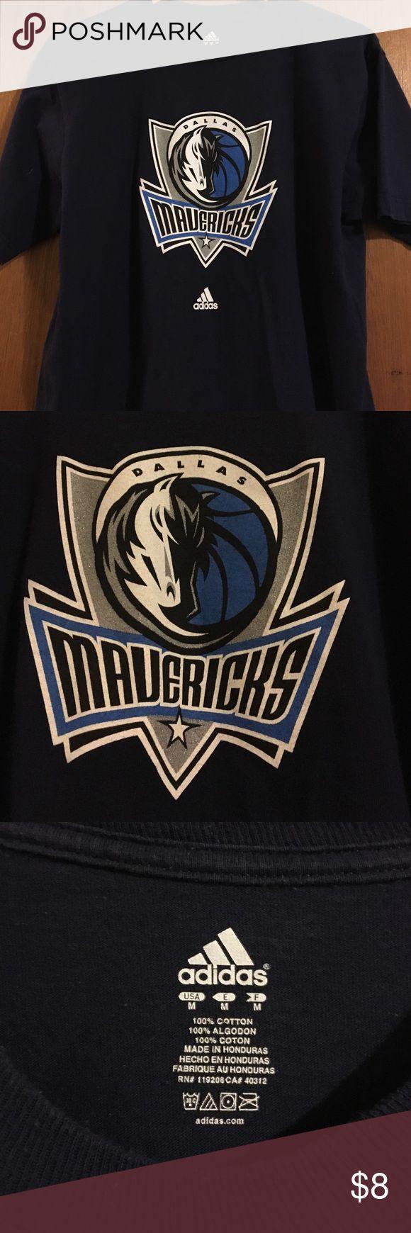 Dallas Mavericks tshirt Blue shirt sleeve Adidas tshirt with Dallas Mavericks logo Adidas Shirts Tees - Short Sleeve
