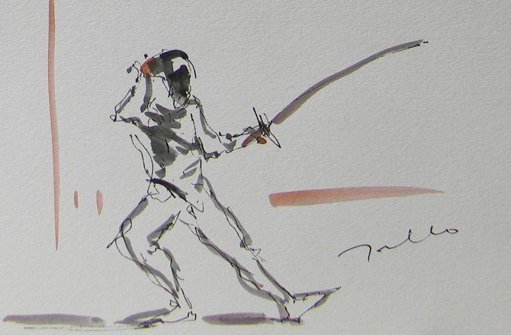 JOSE TRUJILLO ORIGINAL Watercolor Painting Expressionist Figure Fencing Sword | eBay