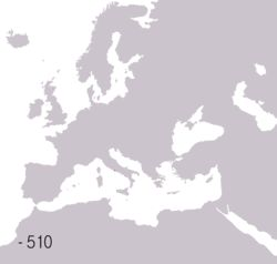 Territories of the Romans  Brown Roman Republic   Purple Roman Empire  Blue Western Roman Empire Green Eastern Roman Empire