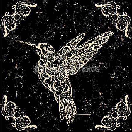 Kolibri. Tetoválás minták. Retro banner, meghívás, kártya, törmelék foglalás. póló, táska, képeslap, plakát. Nagyon részletes vintage stílusú kézzel rajzolt vektoros illusztráció — Stock Illustration #81178154
