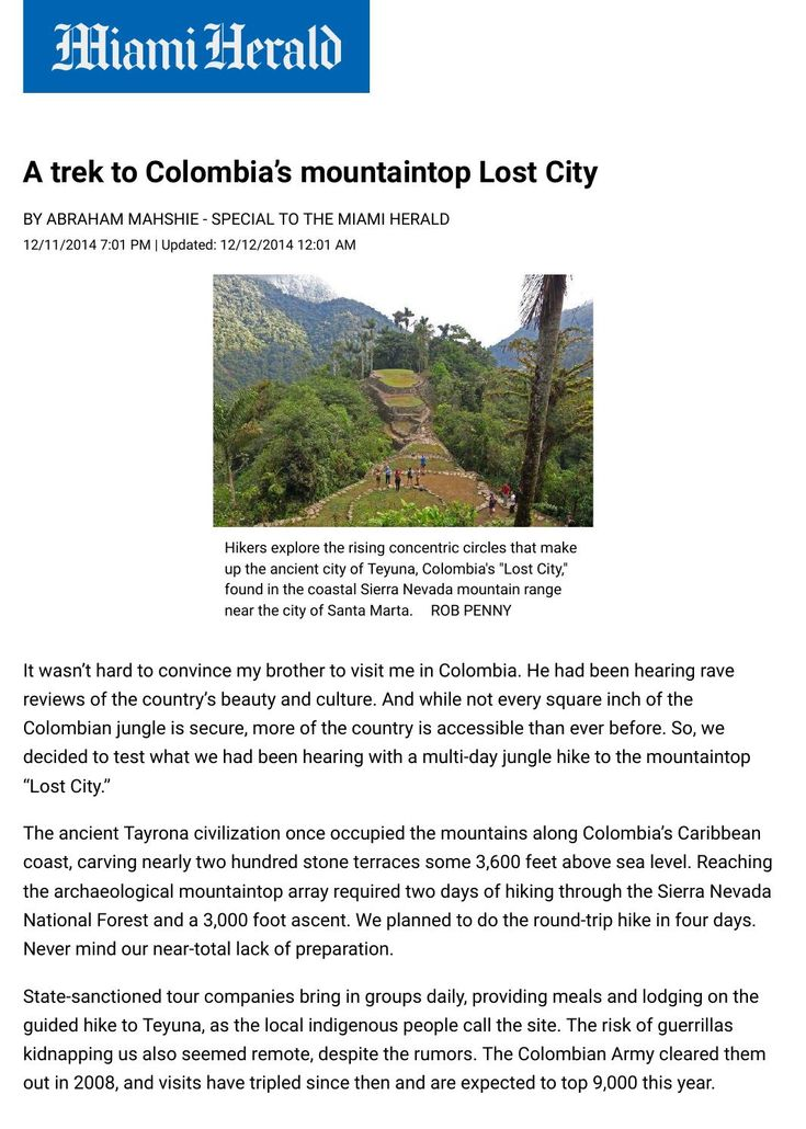 The Miami Herald  A trek to colombia's mountaintop lost city