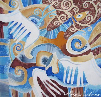 """Шали, палантины ручной работы. Ярмарка Мастеров - ручная работа. Купить Батик Шелковый платок """"Белая птица"""". Handmade. Разноцветный"""