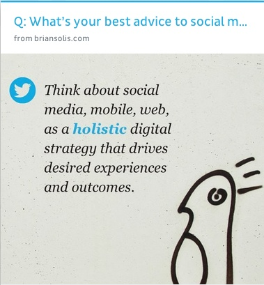 #socialmedia advice from @Brian Solis